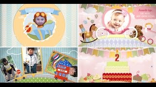 Children Video Memory Album Slideshow And Birthday Invitation - After Effects Royalty free template