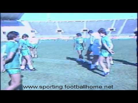 Reportagem do treino do Sporting antes do jogo com o Auxerre em 1984/1985 Taça Uefa