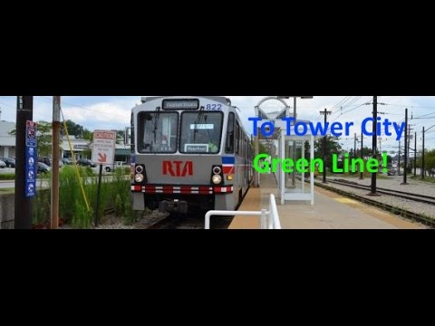 Cleveland RTA Green Line 1/2 route from Green Road To Tower City Via Shaker Square