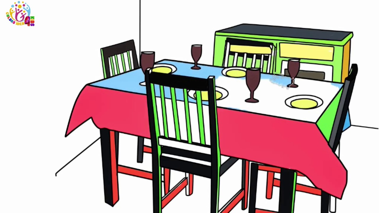 How To Draw Dining Table On Color Page Step By