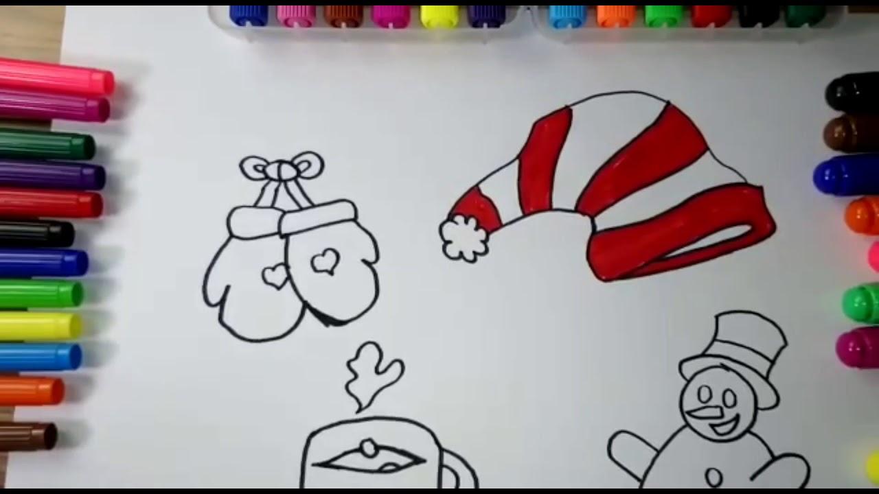 Kardan Adam Eldiven şapka Ve Fincan Nasıl çizilir çocuklar Için