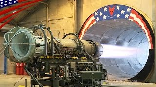 戦闘機エンジンのアフターバーナー燃焼テスト:F-16用F110-GE-100ターボファンエンジン
