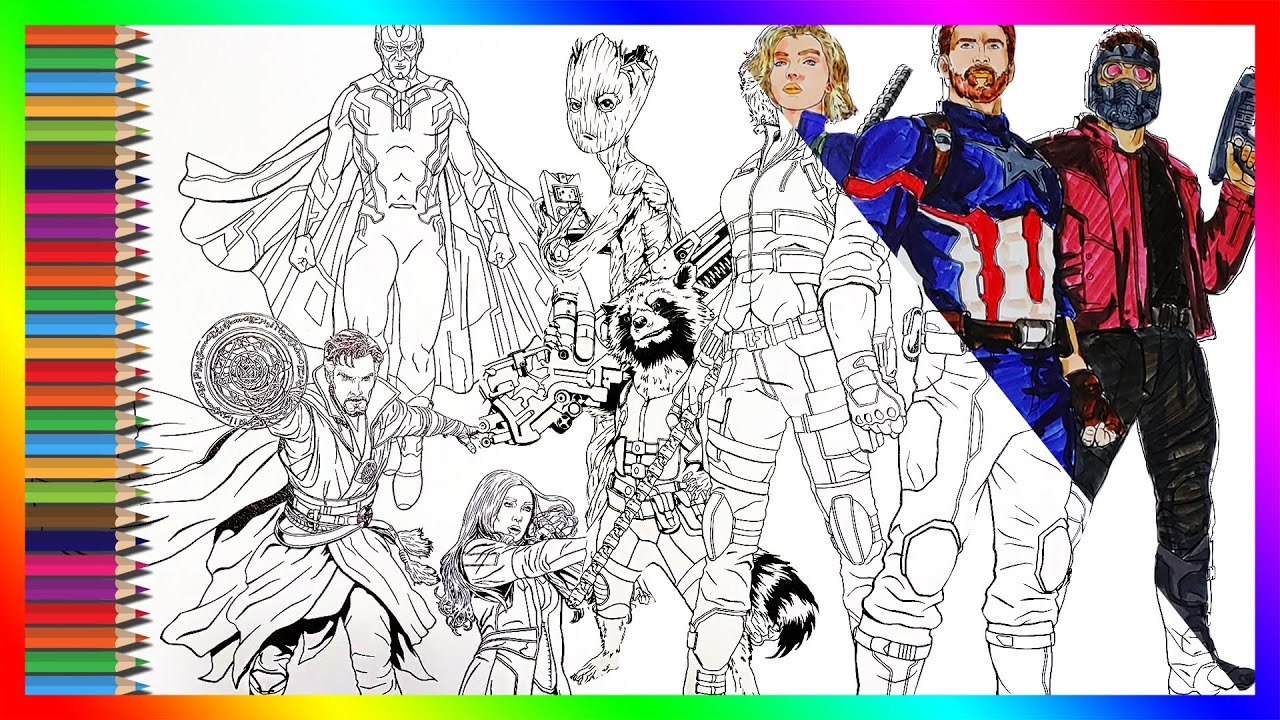 The Avengers Coloring Pages Infinitywar Captainamerica Blackwidow Doctorstrange Vision Groot Rocket Youtube