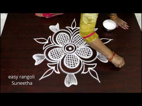 Freehand Cute Kolam ||  Easy Rangoli Patterns ||  Beautiful Muggulu  || Latest Designs With Out Dots