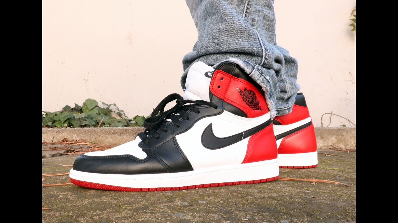 wholesale dealer 25a8c 3797f Air Jordan 1 Black Toe 2016 On Feet - YouTube