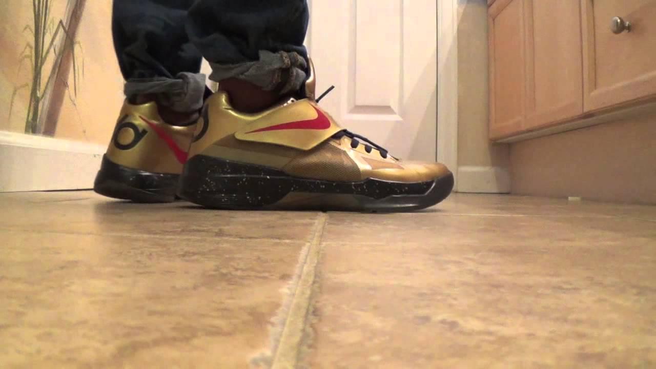 Nike KD IV Gold Medal on Feet - YouTubeKd 4 On Feet