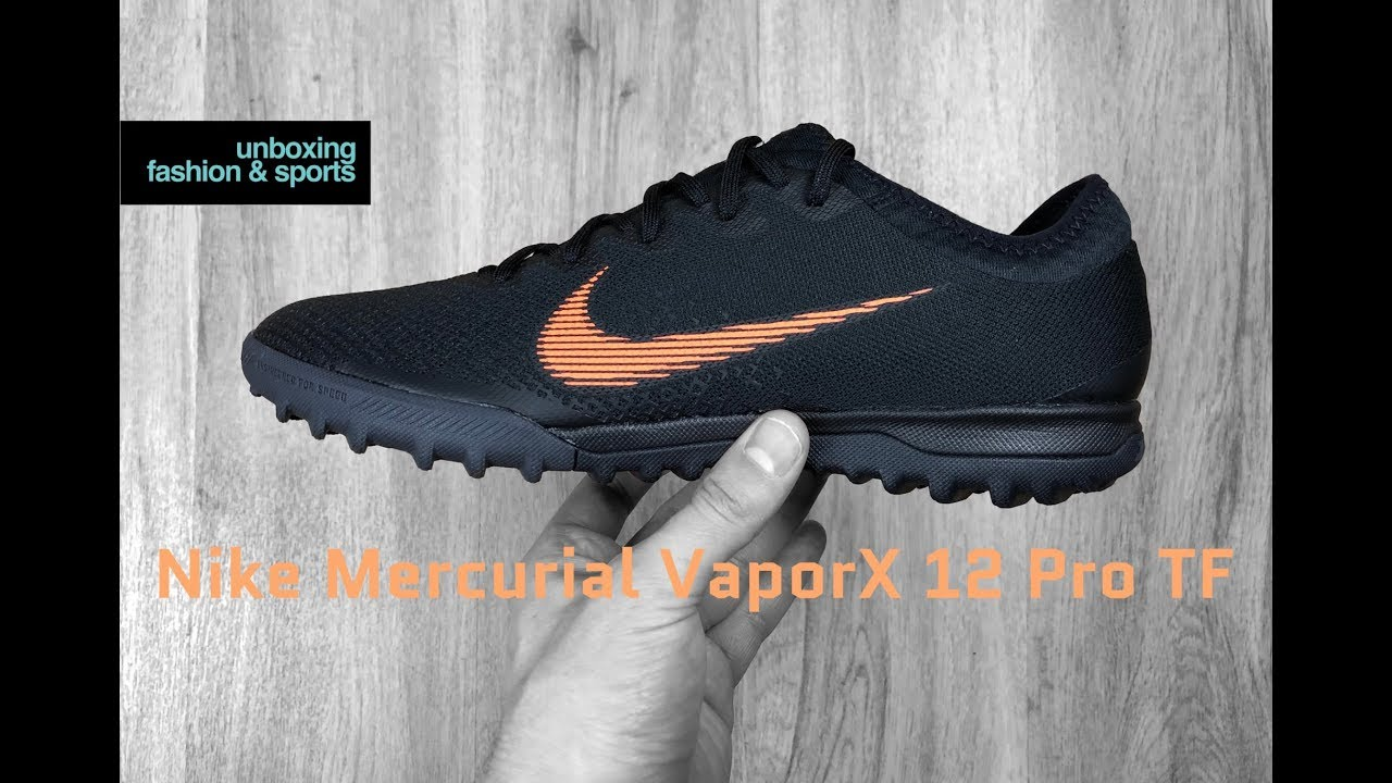 new arrival 3ac36 9b60c Nike Mercurial VaporX 12 PRO TF  Black orange-wht    UNBOXING   ON FEET   football  boots   2018   4K