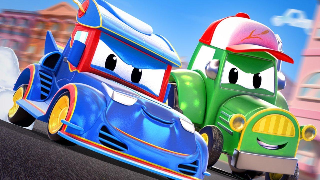 Video truk untuk anak-anak - MOBIL BALAP Super menangkap pencuri kristal - Truk Super di Kota Mobil!