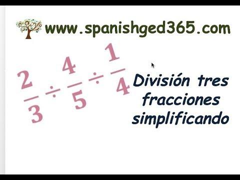 División Tres Fracciones Simplificando