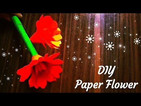 How to make Beautiful Stick Flower With Paper | DIY Flower Making