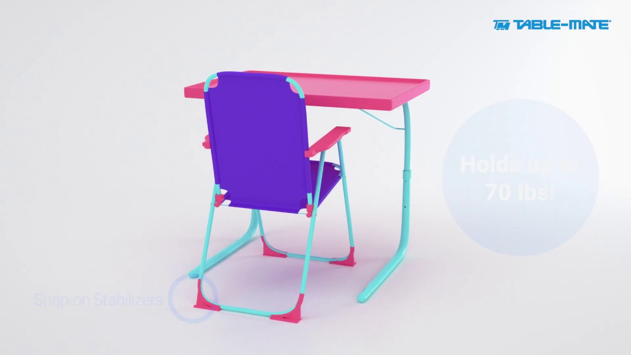 Table Mate 4 Kids Folding Desk And Chair Set For Eating Art Activities For Toddlers And Children Youtube