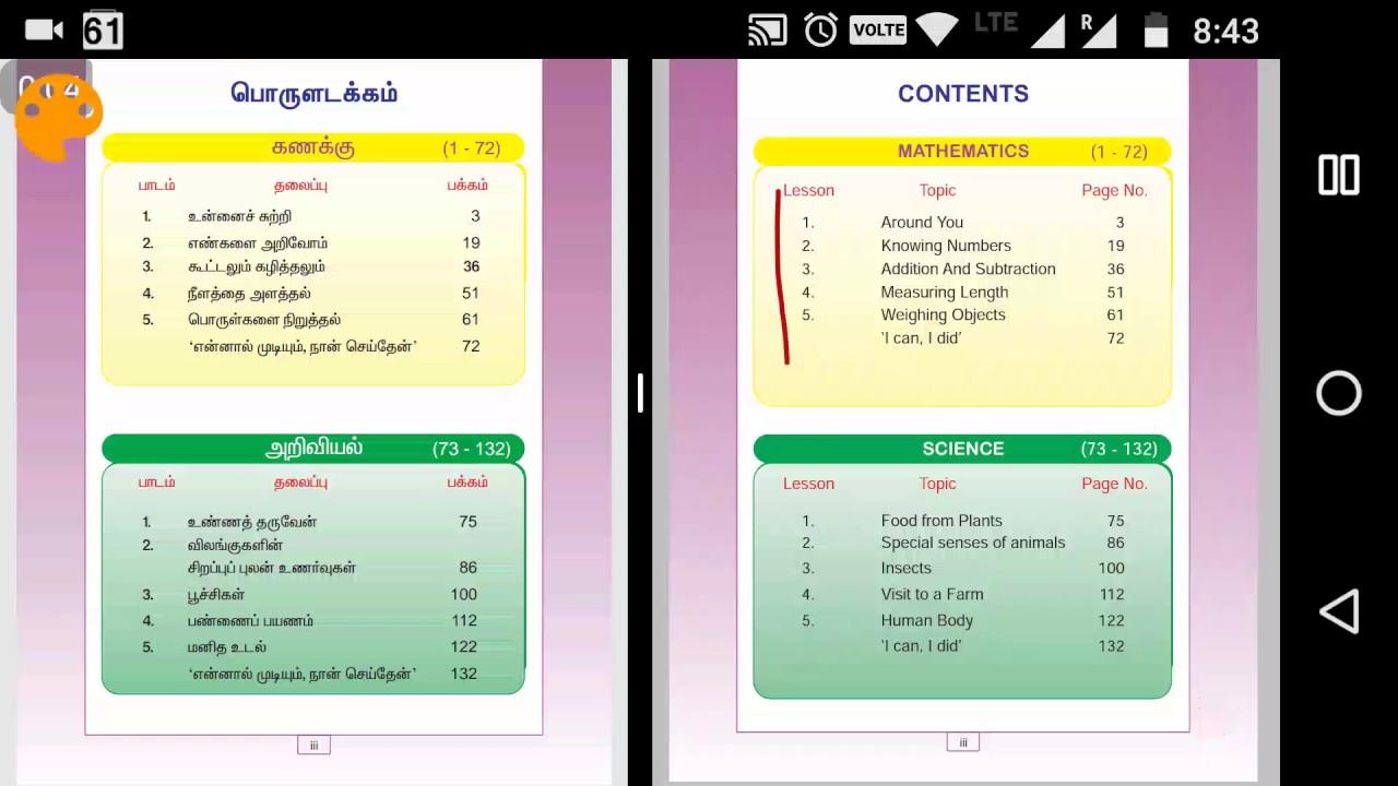 Samacheer kalvi Maths 4th STD Term 1 - contents