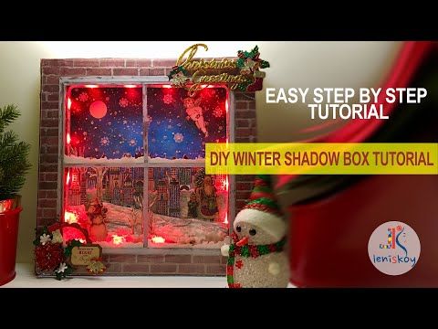 DIY LIGHT UP WINTER/CHRISTMAS SHADOW BOX TUTORIAL