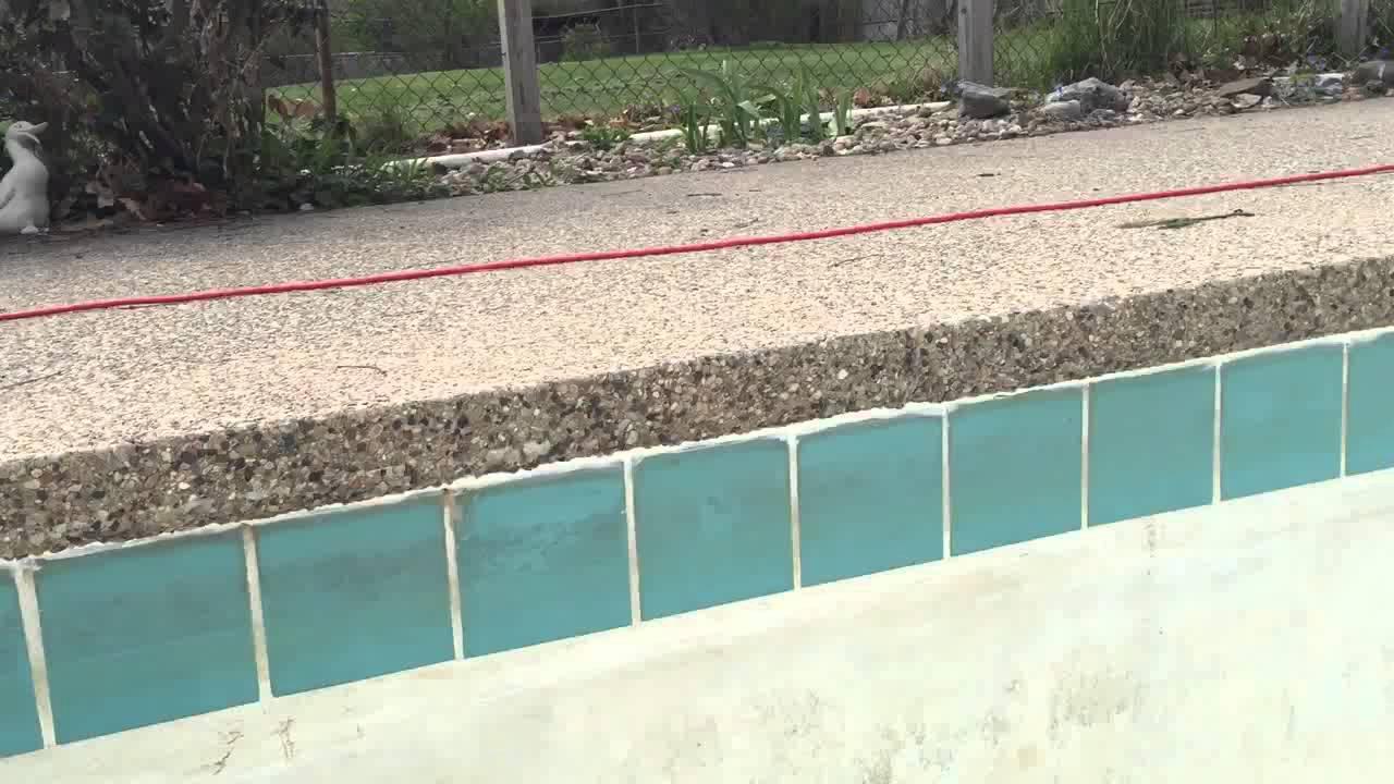 Caulk above pool tile youtube for Barnstaple swimming pool timetable