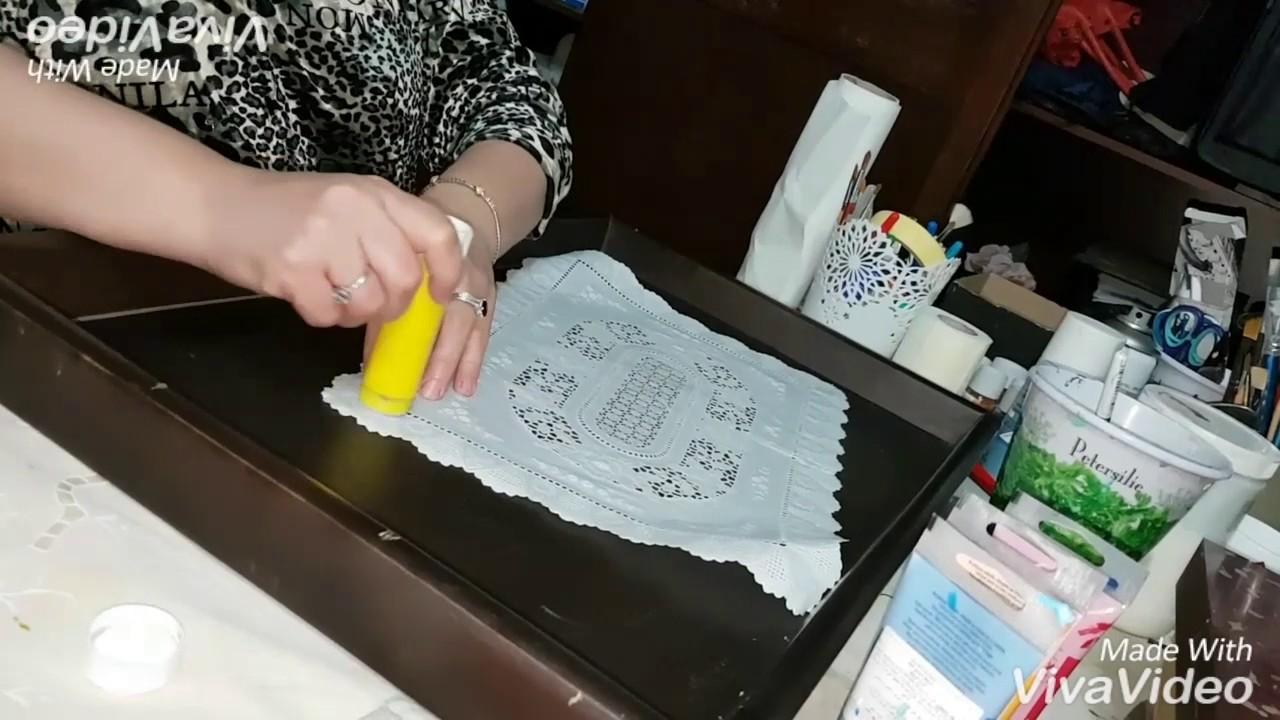 Comment Peindre De La Dentelle décoration d'un plateau de service avec peinture acrylique et marqueur  acrylique effet dentelle. mal