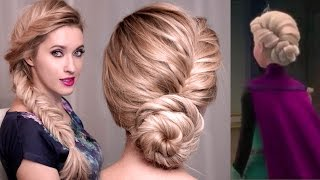 Frozen's Elsa hairstyle tutorial for long hair: UPDO, BRAID hairstyles for long hair