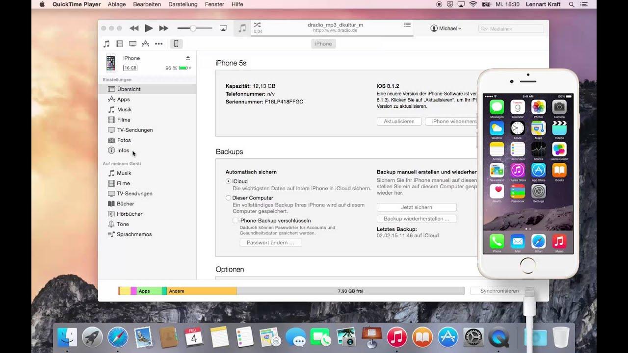 kontakte von iphone auf mac