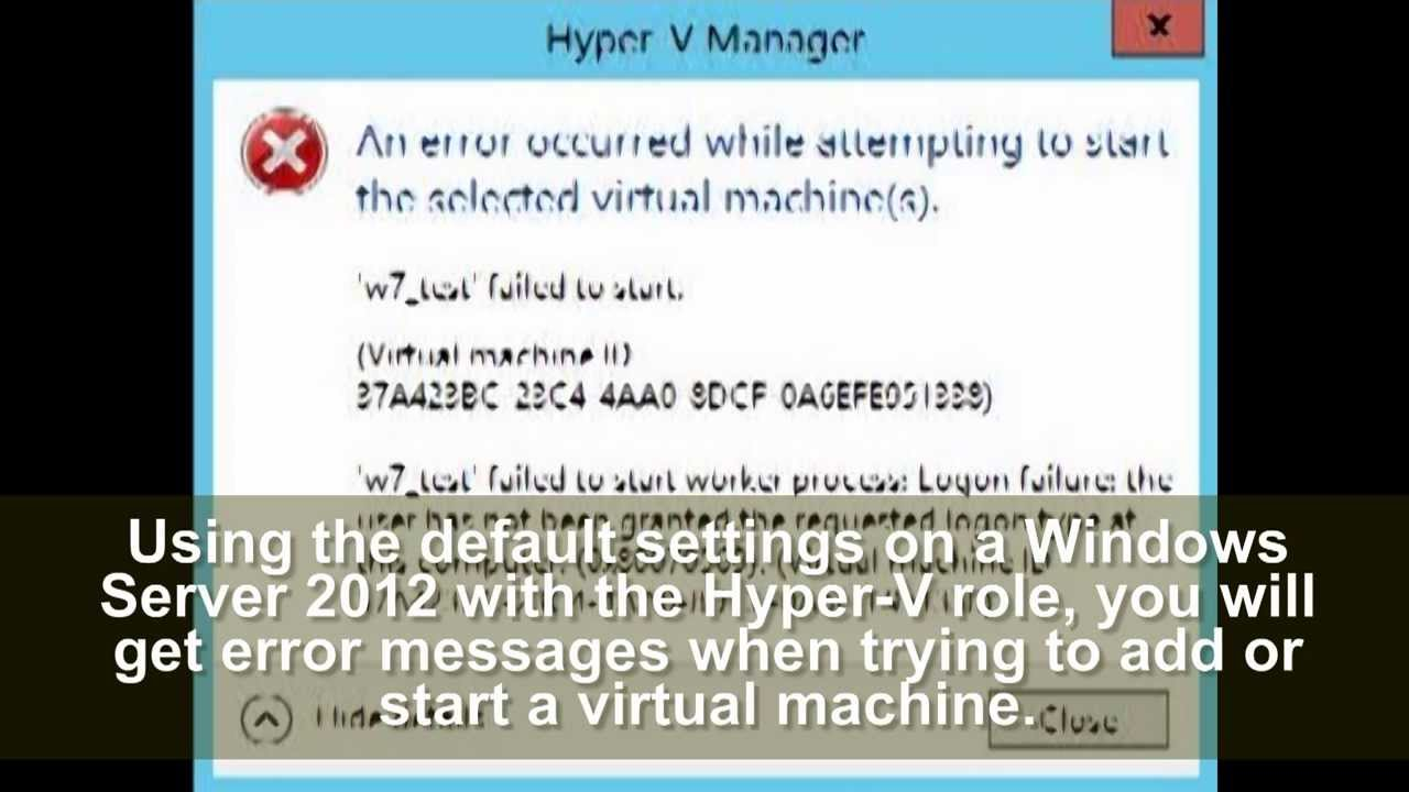 Windows Server 2012 - hyper-v error messages
