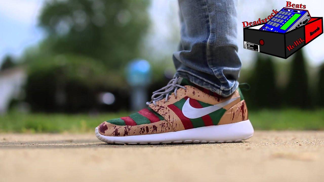 5ea75296dd70d ... Nike Roshe Run Freddy Krueger (Custom) On Feet ...