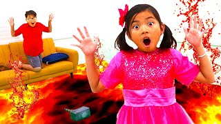 The Floor is Lava Pretend Play with Emma | Fun Kids Video with Toys and Colors