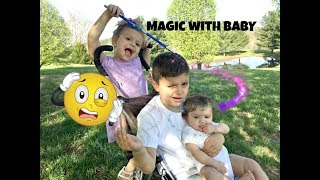 Gia Sis uses MAGIC Wand to turn her Bro into a REAL BABY! So CUTE!