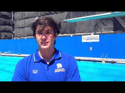 Goalkeeper Matej Matijevic talks about San José State's men's water polo team's win