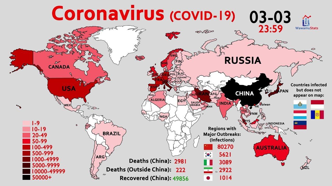 Coronavirus Covid 19 Update: (2020.1-2020.3) Map Timelapse Of The Coronavirus
