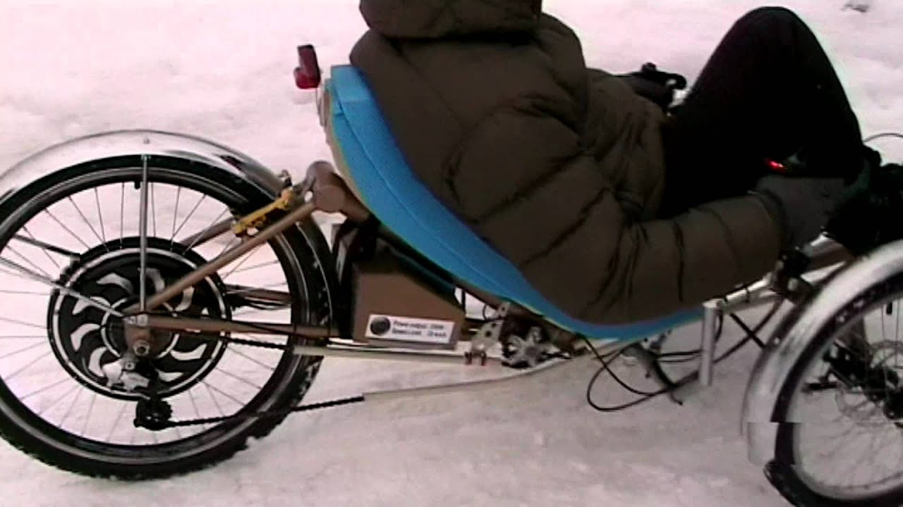 Recumbent electric trike youtube for Recumbent bike with electric motor