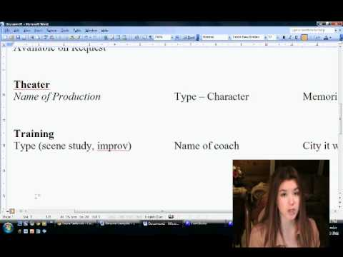 how to make your acting resume youtube - Acting Resume Beginner