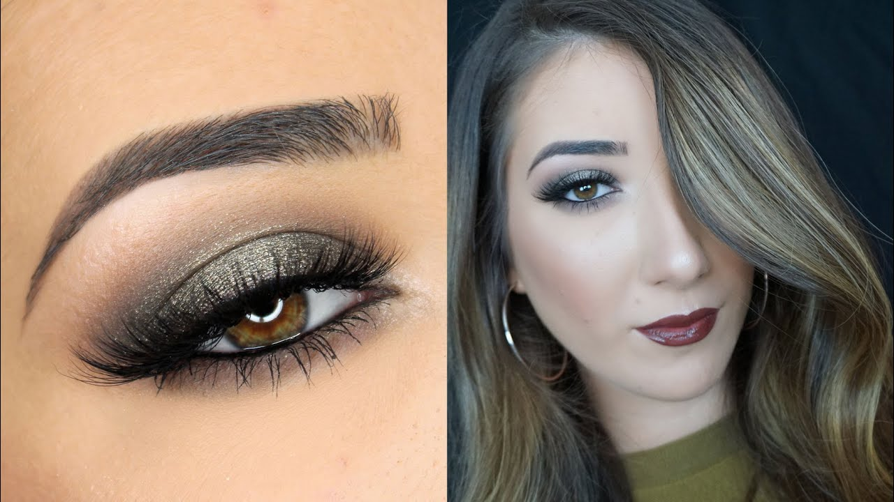 sparkley olive green smokey eye amp brown lips makeup