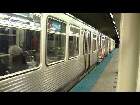 """CTA Transit: 1969/1981 Budd Company 2200/2600 Series """"L"""" Blue Line Train at Clark Station"""