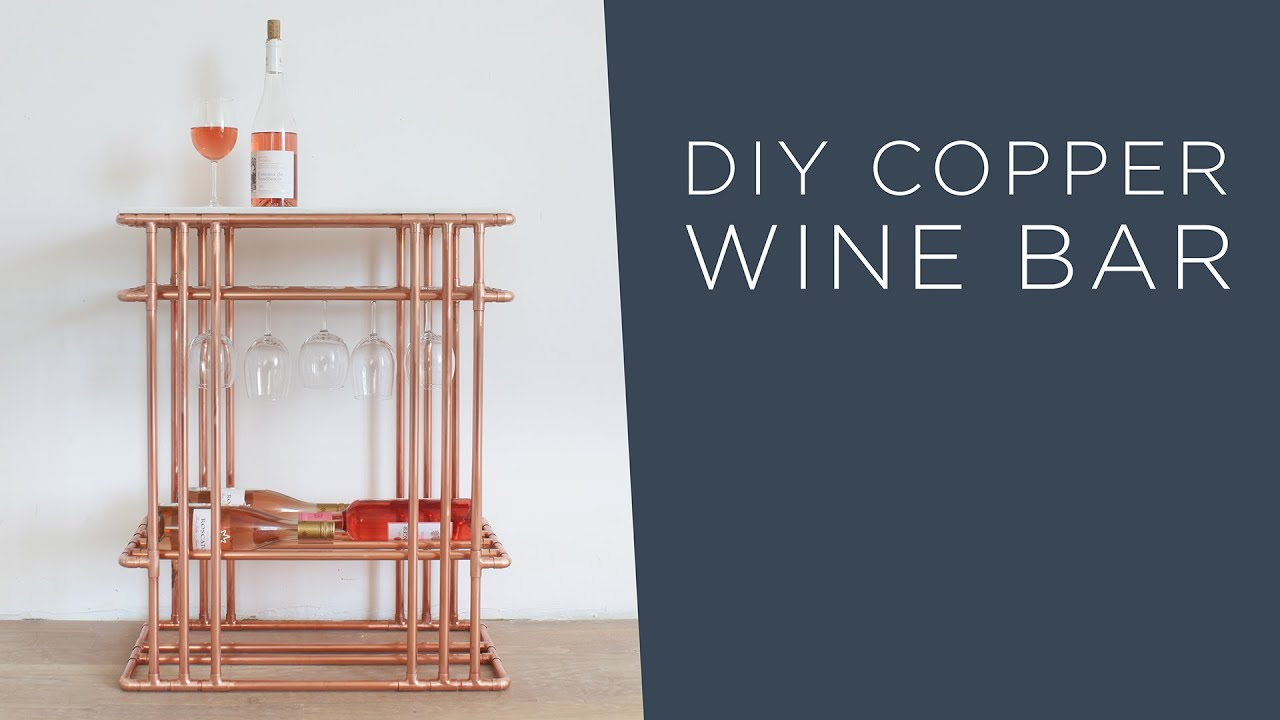 DIY Wine Bar   Made Out Of Copper Pipe And Marble Tile   YouTube