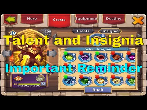 Castle Clash Talent And Insignia Choice: Important Reminder
