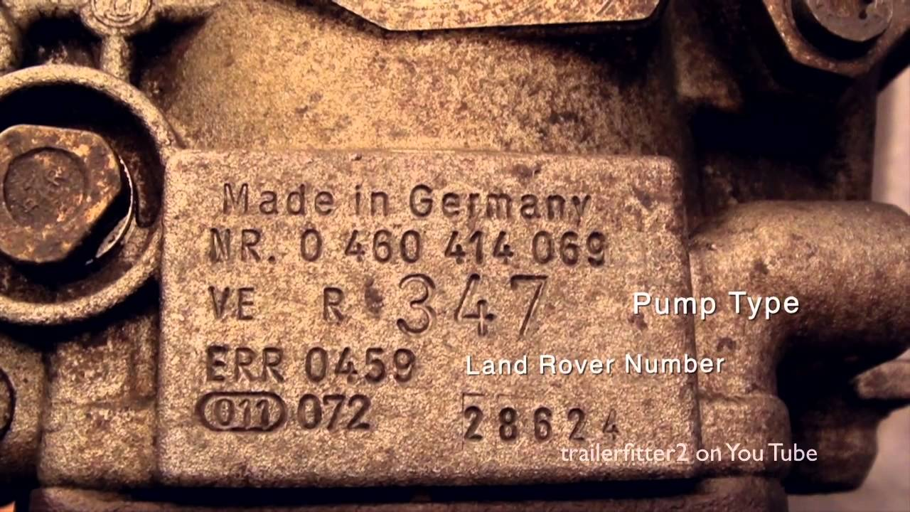 Vehicle Serial Number >> Land Rover Bosch VE Fuel Injection Pump Identification Number 200tdi Engine - YouTube
