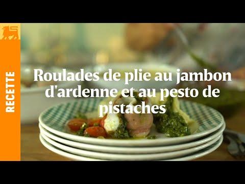 Roulades de plie au jambon d' Ardenne et au pesto de pistaches