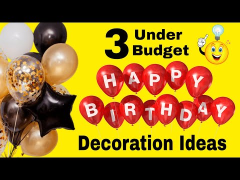 3 Easy & Under Budget Birthday Decoration Ideas at Home|Foil Balloons &  Curtain Birthday Decoration
