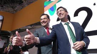 La Reina, Moreno y Marín inauguran el stand de Andalucía en Fitur