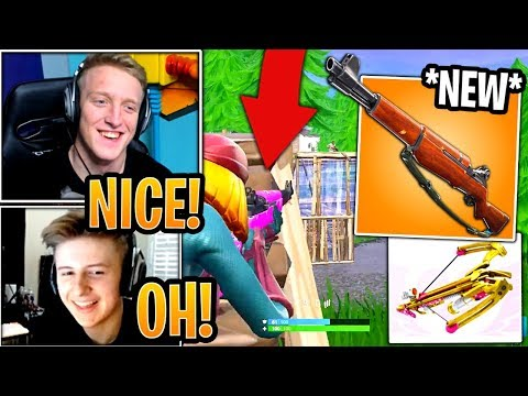 Streamers First Time Using *NEW* Infantry Rifle & *UNVAULTED* Crossbow! - Fortnite Moments thumbnail