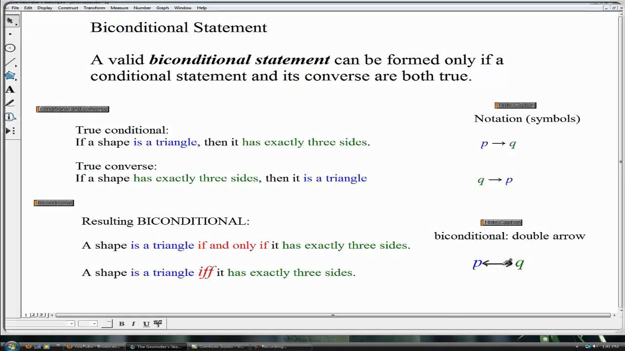 Biconditional Statements Geometry Youtube