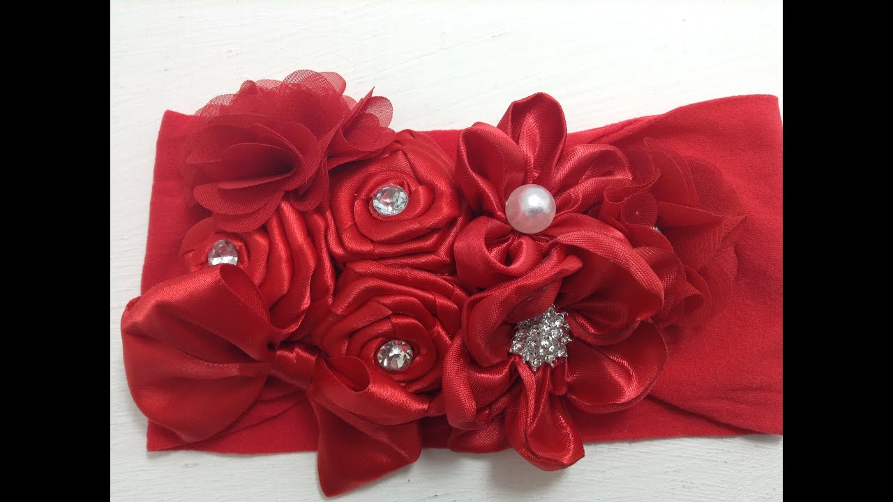 Tiara de flores rojas de tela y liston VIDEO No. 361