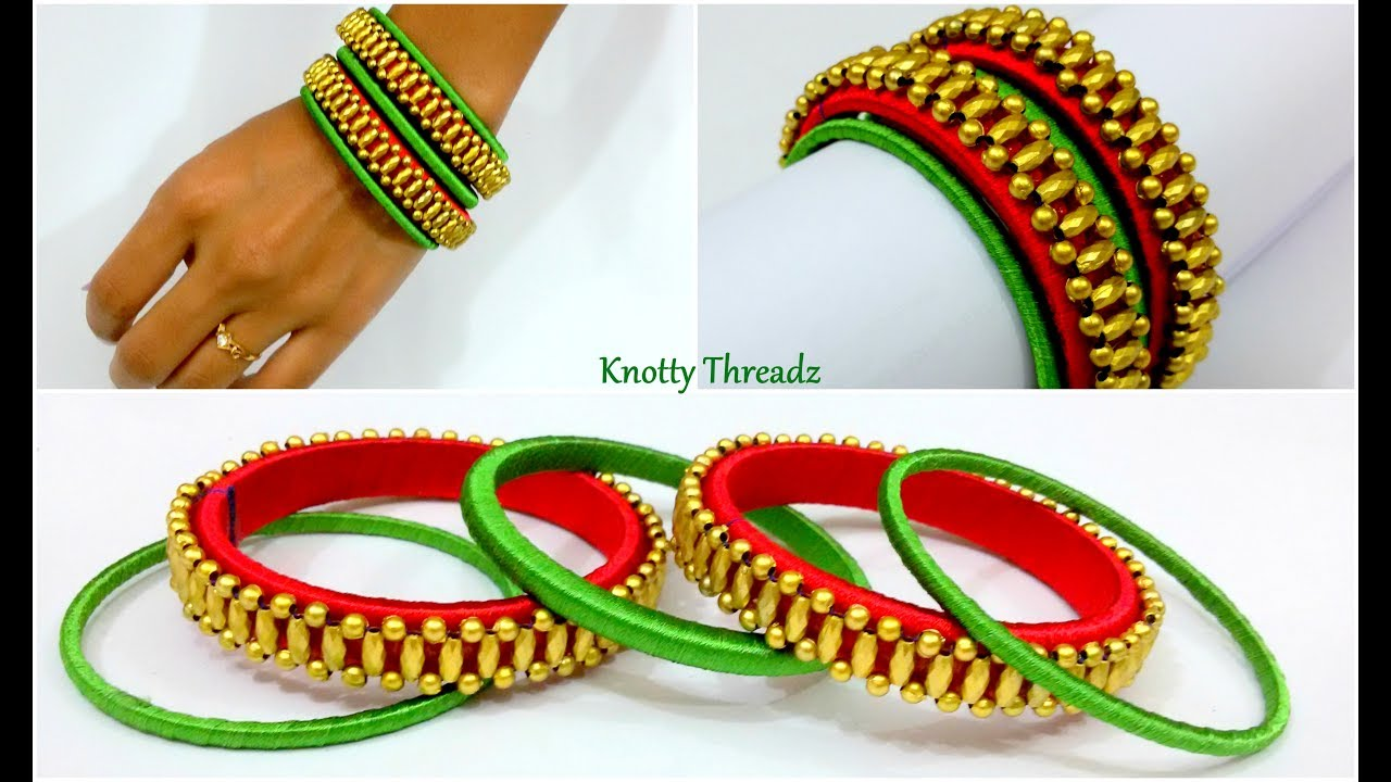 Silk Thread Jewelry | Making of Designer Bangle Set with Dull ...