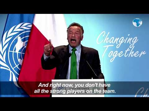 Arnold Schwarzenegger calls for climate action at COP24 in Katowice, Poland
