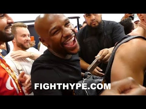 MAYWEATHER SHOWS NO CONCERN ABOUT MCGREGOR; ENTERTAINS CROWD BEFORE LATE-NIGHT WORKOUT