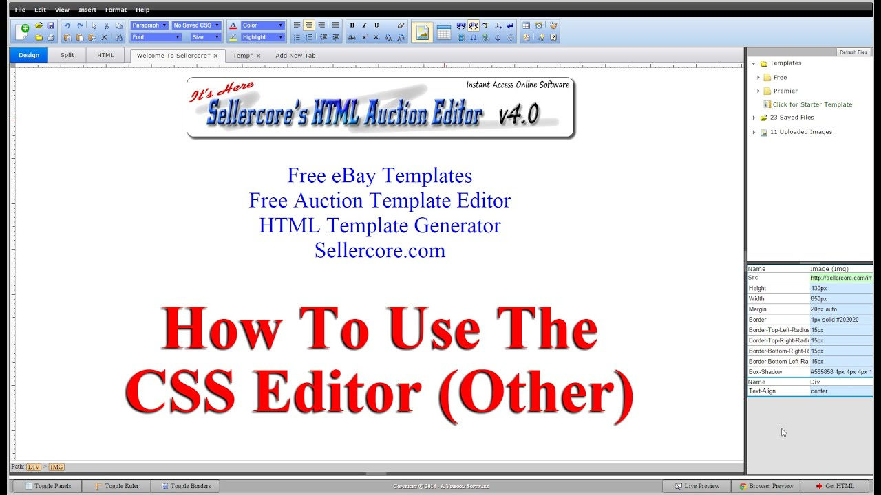 How To Make Shadow And Other CSS Effects When Generating Free eBay ...