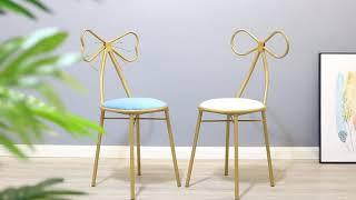 북유럽 럭셔리 골드 리본 테이블 체어 화장대 의자