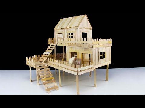 How to make popsicle stick house for rat youtube for What do i need to do to build a house