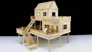 popsicle stick hamster house