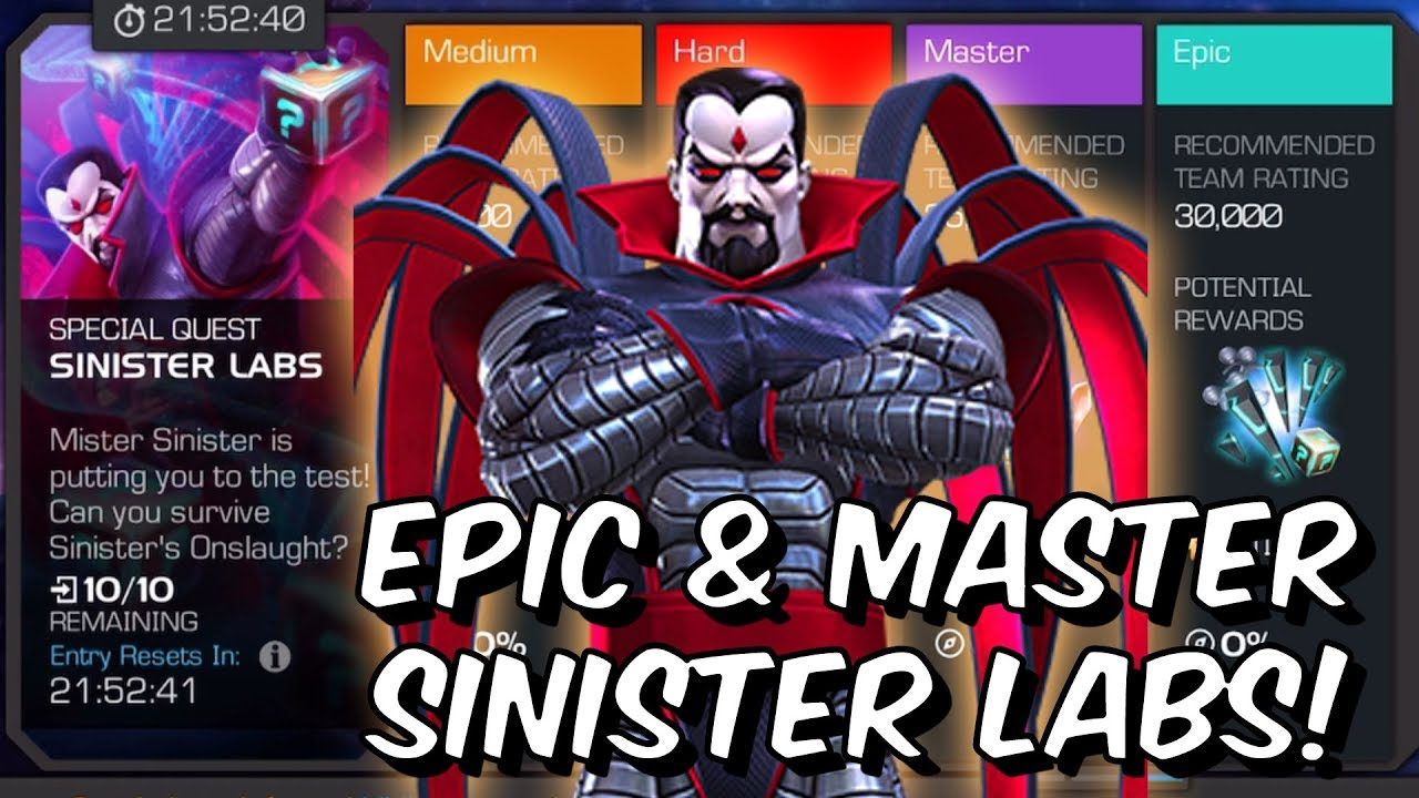 Epic & Master Sinister Labs 100% Exploration - Marvel Contest of Champions