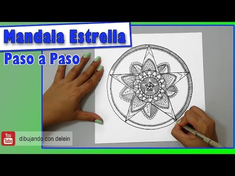 Como dibujar un Mandala Estrella Paso a Paso, dibujo fácil