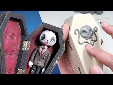 Turning a $2 Coffin into a TIM BURTON Style MOVIE PROP - Polymer Clay Timelapse Tutorial thumbnail